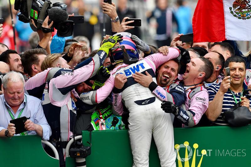 Sergio Perez, Force India celebra