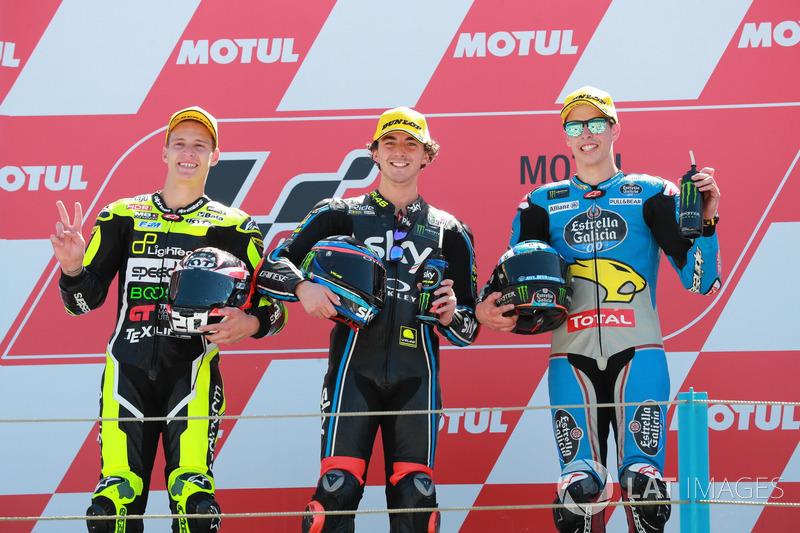 Podio: il secondo classificato Fabio Quartararo, Speed Up Racing, il vincitore dell a gara Francesco Bagnaia, Sky Racing Team VR46, il terzo classificato Alex Marquez, Marc VDS