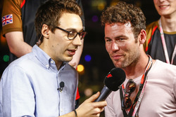 Cyclist Mark Cavendish talks to the media at the E-Sports event