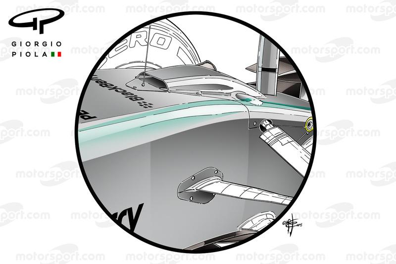 Mercedes W06 'S' Duct und vordere Radaufhängung beim GP von Brasilien