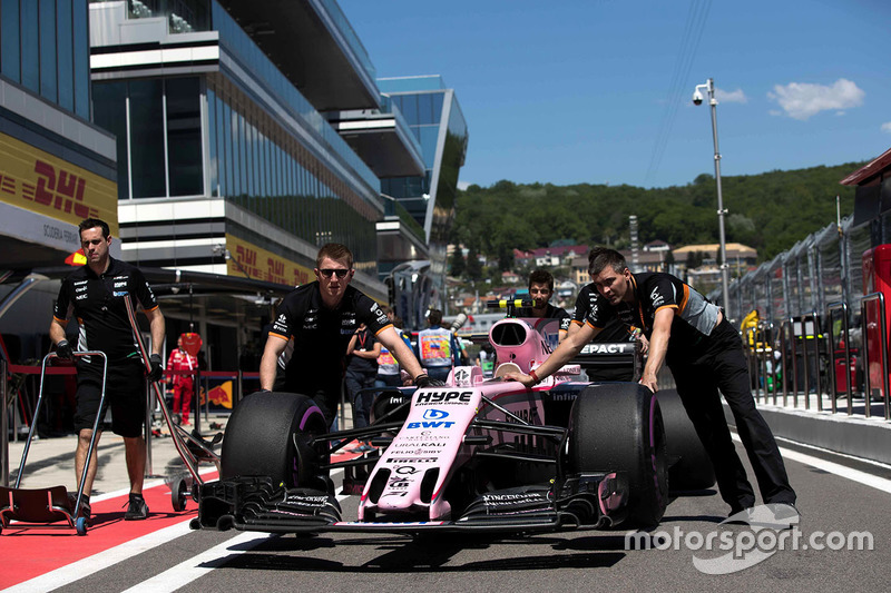 The car of Esteban Ocon, Sahara Force India VJM10