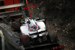 The crashed car of Felipe Massa, Williams FW40