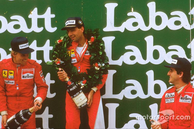Michele Alboreto, primer lugar, Stefan Johansson, segundo lugar y Alain Prost, tercer lugar
