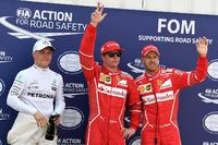 Polesitter Kimi Raikkonen, Ferrari, second place Sebastian Vettel, Ferrari, third place Valtteri Bottas, Mercedes AMG F1