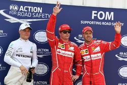 Обладатель поула Кими Райкконен, второе место – Себастьян Феттель, Ferrari, третье место – Валттери Боттас, Mercedes AMG F1