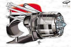Ferrari F14 T front brake duct with brake drum shown