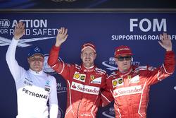 Top three Qualifiers Sebastian Vettel, Ferrari, Kimi Raikkonen, Ferrari, Valtteri Bottas, Mercedes AMG F1