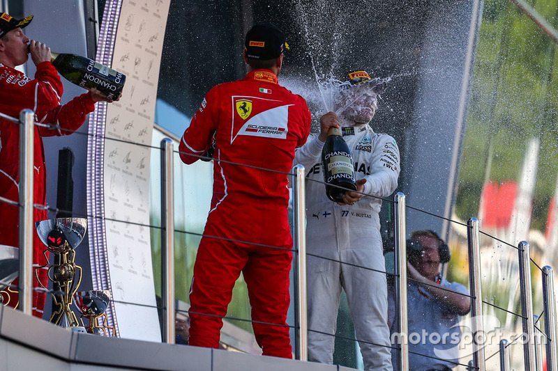 Valtteri Bottas, Mercedes AMG F1, Sebastian Vettel, Ferrari and Kimi Raikkonen, Ferrari