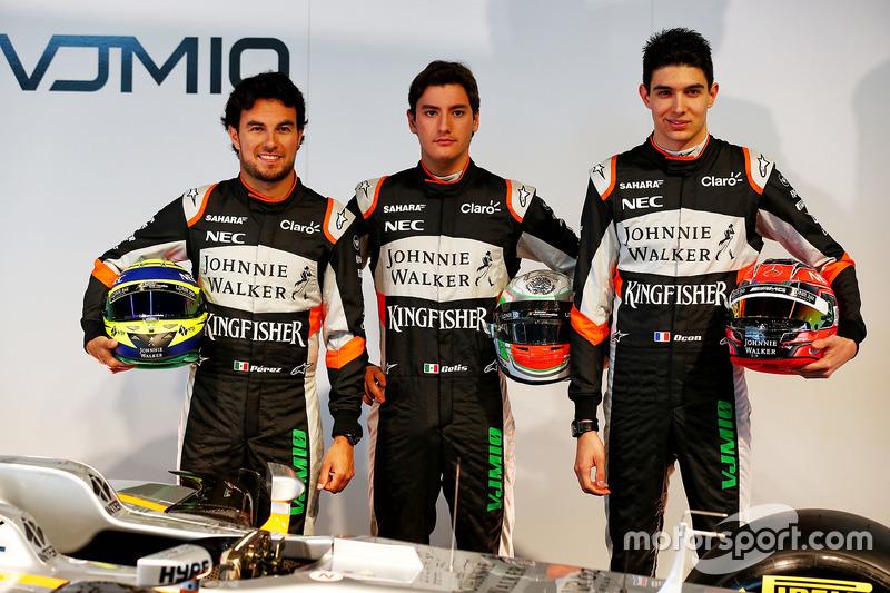 Sergio Perez, Sahara Force India F1 met Alfonso Celis Jr, Sahara Force India F1 en Esteban Ocon, Sahara Force India F1 Team