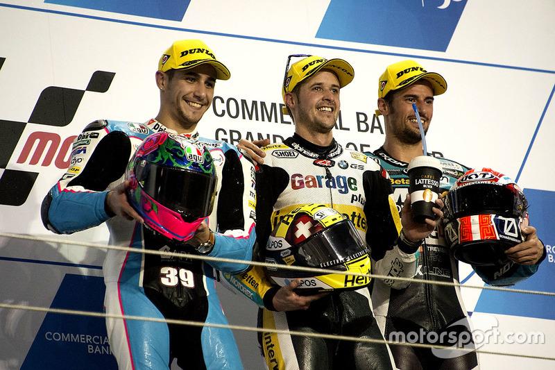 Podio: il vincitore della gara Thomas Lüthi, Garage Plus Interwetten, Kalex; secondo Luis Salom, SAG Team, Kalex; terzo Simone Corsi, Speed Up Racing, Speed Up