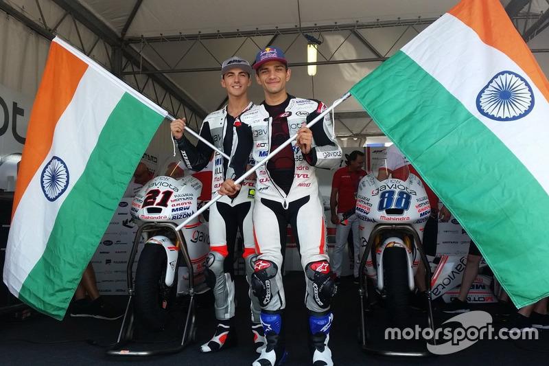 Jorge Martin, Aspar Team Mahindra Moto3, Francesco Bagnaia, Aspar Team Mahindra Moto3 celebrate Mahindra 100th Grand Prix