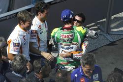 Cal Crutchlow, Team LCR Honda congratulating race winner Dani Pedrosa, Repsol Honda Team