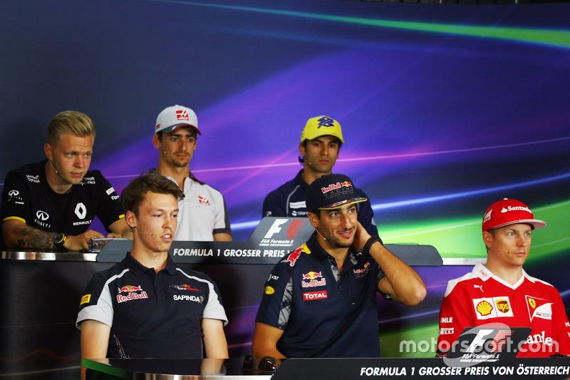 FIA Basın Toplantısı: Kevin Magnussen, Renault Sport F1 Team; Esteban Gutierrez, Haas F1 Team; Felipe Nasr, Sauber F1 Team; Daniil Kvyat, Scuderia Toro Rosso; Daniel Ricciardo, Red Bull Racing; Kimi Raikkonen, Ferrari