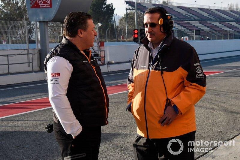 Zak Brown, Direttore Esecutivo McLaren e lo Sceicco Mohammed bin Essa Al Khalifa, CEO del consiglio per lo sviluppo economico del Bahrain e azionista McLaren