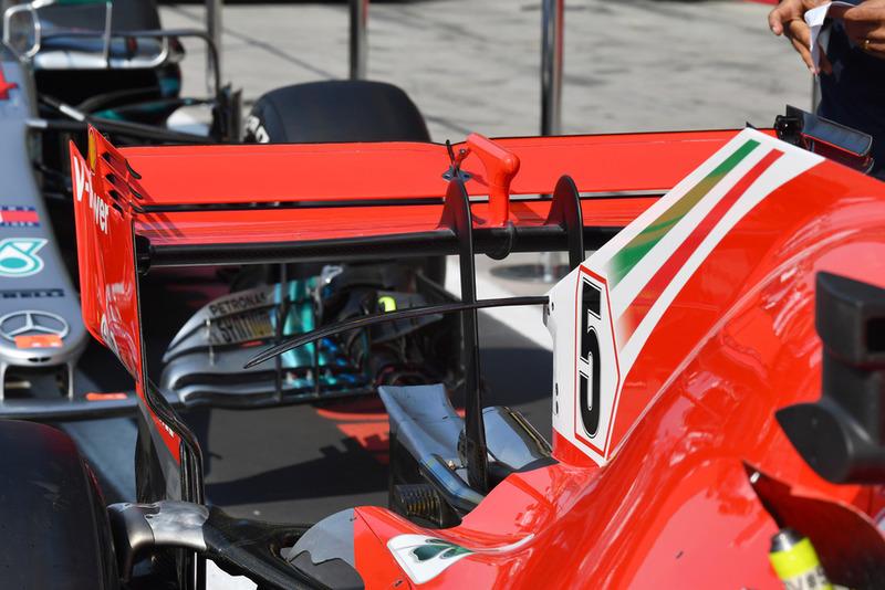 Ferrari SF71H detalle del alerón trasero