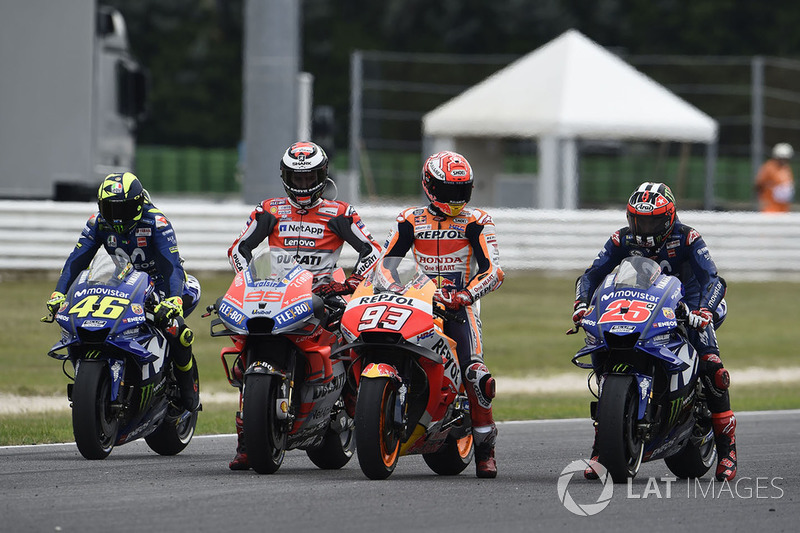 Валентино Россі, Yamaha Factory Racing,Хорхе Лоренсо, Ducati Team, Марк Маркес, Repsol Honda Team, Маверік Віньялес, Yamaha Factory Racing