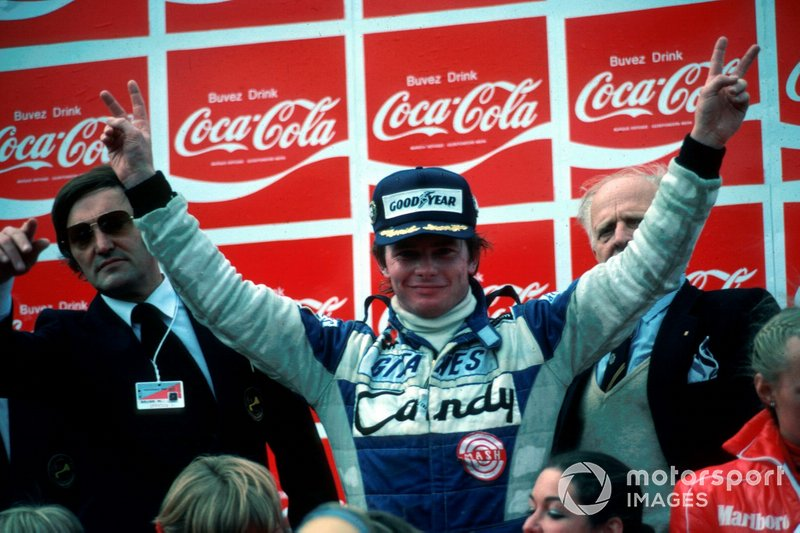 First win (above and top) came in the Ligier JS11/15 at Zolder in 1980.