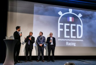 Serge Saulnier, directeur du Circuit Magny-Cours, Patrick Lemarié, cofondateur de Feed Racing, Jacques Villeneuve, cofondateur de Feed Racing