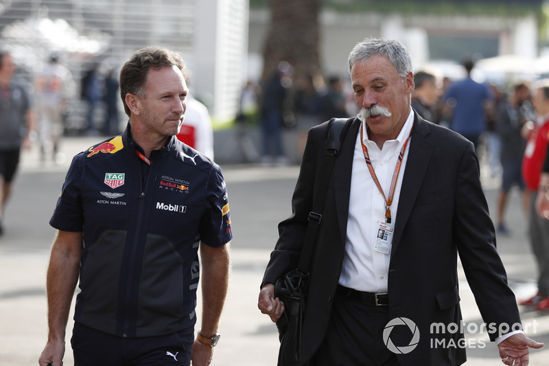 Christian Horner, Red Bull Racing Team Principal and Chase Carey, Chief Executive Officer and Executive Chairman of the Formula One Group