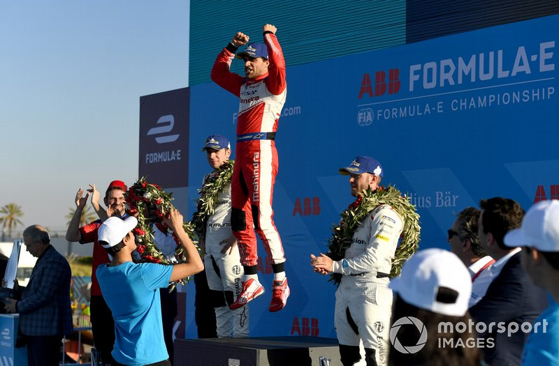 Jérôme d'Ambrosio, Mahindra Racing, 1st position, leaps in celebration on the podium