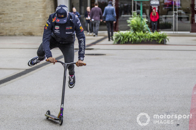 Daniel Ricciardo, Red Bull Racing on a scooter