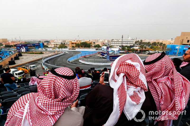 Fans in the grandstands await the on track action