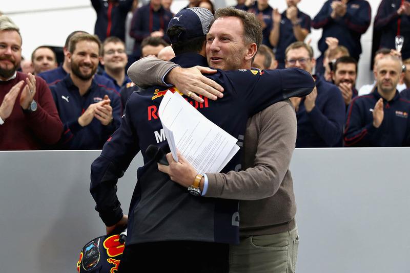 Red Bull Racing Team Principal Christian Horner hugs Daniel Ricciardo, Red Bull Racing