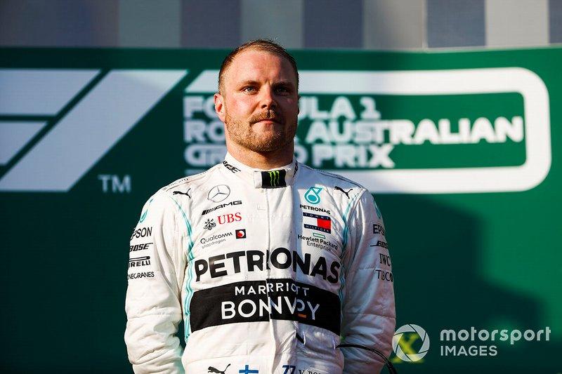 Valtteri Bottas, Mercedes AMG F1, vincitore, sul podio