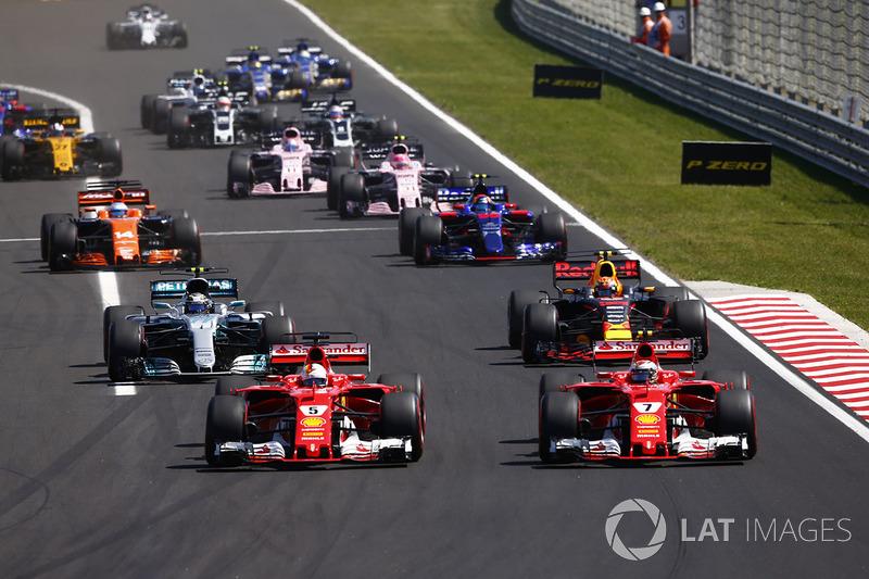 Sebastian Vettel, Ferrari SF70H, Kimi Raikkonen, Ferrari SF70H, Max Verstappen, Red Bull Racing RB13, Valtteri Bottas, Mercedes AMG F1 W08, Carlos Sainz Jr., Scuderia Toro Rosso STR12 y  Fernando Alonso, McLaren MCL32