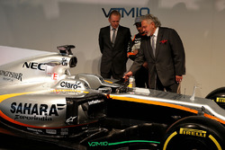 (L to R): Andrew Green, Sahara Force India F1 Team Technical Director; Sergio Perez, Sahara Force India F1; Dr. Vijay Mallya, Sahara Force India F1 Team Owner; and the Sahara Force India F1 VJM10
