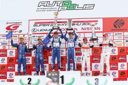 GT300 podium: winners #25 Team Tsuchiya Toyota MC86: Takamitsu Matsui, Tsubasa Kondo, second place #