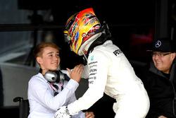 Race winner Lewis Hamilton, Mercedes AMG F1 celebrates in parc ferme, Billy Monger