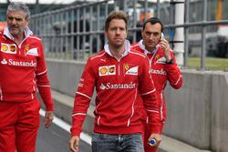 Sebastian Vettel, Ferrari walks the track, Maurizio Arrivabene, Ferrari Team Principal and Riccardo Adami, Ferrari Race Engineer