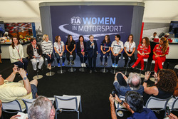 Susie Wolff, Claire Williams, Deputy Team Principal, Williams, Marta Garcia, Renault Sport F1 Team Sport Academy, Michelle Mouton, Jean Todt, President, FIA, Tatiana Calderon, Sauber and Monisha Kaltenborn, Team Principal and CEO, Sauber, at a Women in Motorsport Press Conference