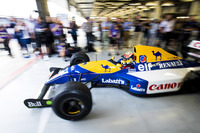 Karun Chandhok leaves the pit garage in a Williams FW14B Renault