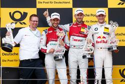 Podium : le vainqueur René Rast, Audi Sport Team Rosberg, Audi RS 5 DTM, le deuxième, Mike Rockenfeller, Audi Sport Team Phoenix, Audi RS 5 DTM, le troisième, Marco Wittmann, BMW Team RMG, BMW M4 DTM
