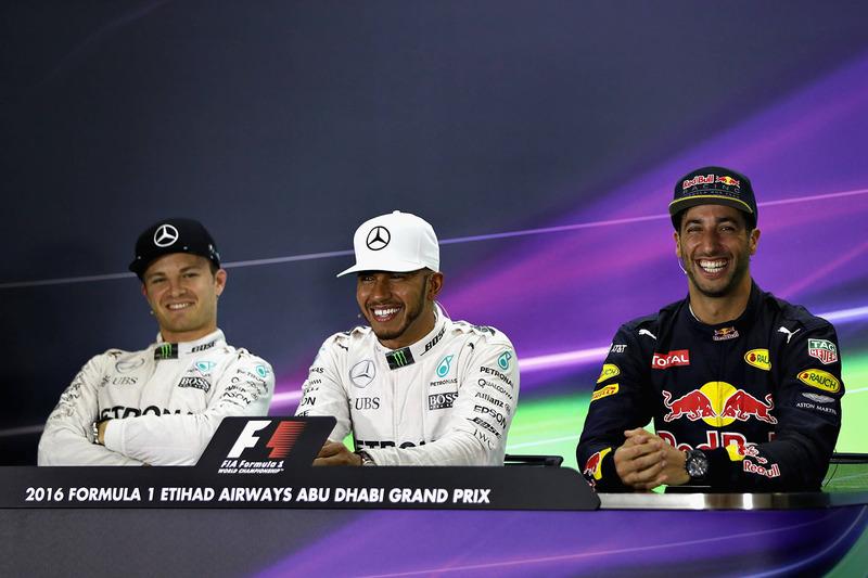 Conferencia de prensa: ganador de la pole Lewis Hamilton, Mercedes AMG F1, segundo Nico Rosberg, Mercedes AMG F1, tercero Daniel Ricciardo, Red Bull Racing