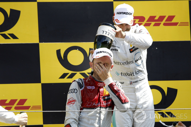 Podium: Race winner René Rast, Audi Sport Team Rosberg, second place Gary Paffett, Mercedes-AMG Team HWA