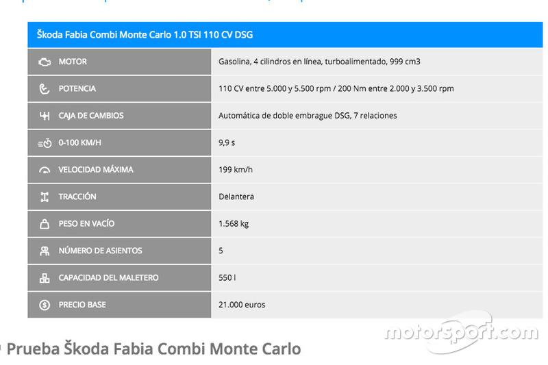 Especificaciones del Škoda Fabia Combi Monte Carlo