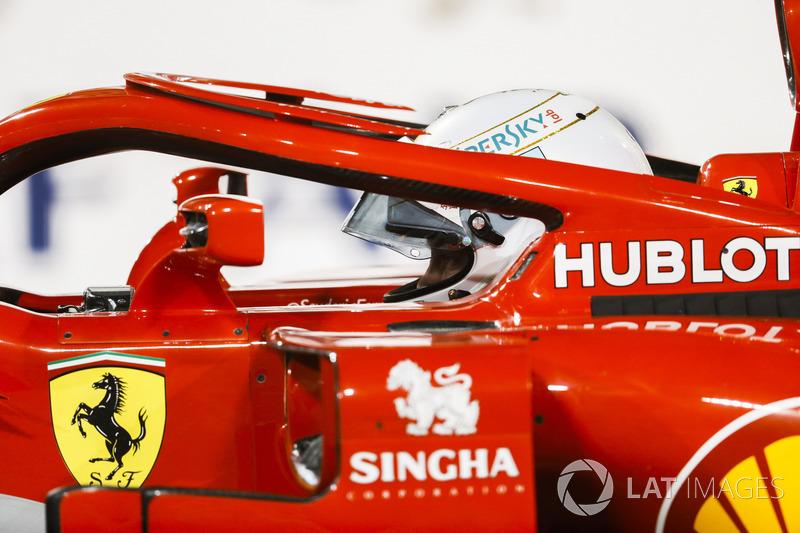Sebastian Vettel, Ferrari SF71H, parks up after securing pole