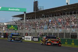 David Reynolds, Erebus Motorsport Holden, leads Nick Percat, Brad Jones Racing Holden