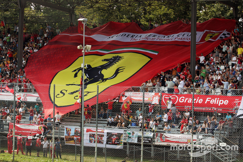 A large banner from Ferrari fans in the grandstand