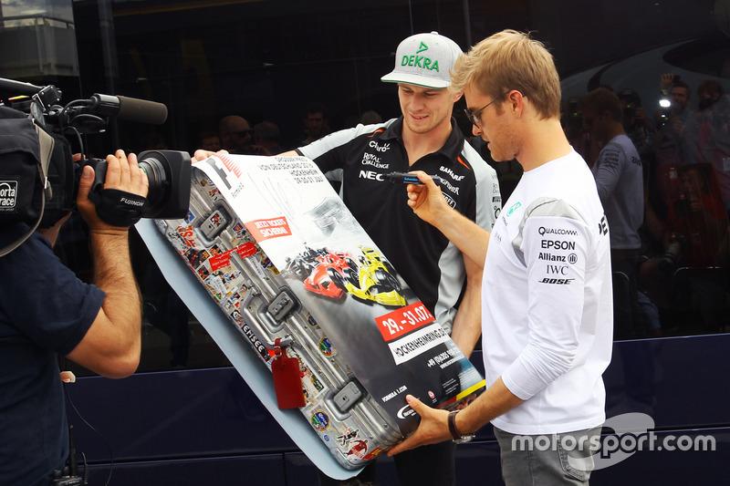 Nico Hulkenberg, Sahara Force India F1 e Nico Rosberg, Mercedes AMG F1, per il ritorno del GP di Germania