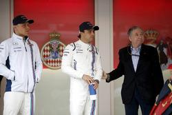 Valtteri Bottas en Felipe Massa, Williams, met Jean Todt, President, FIA