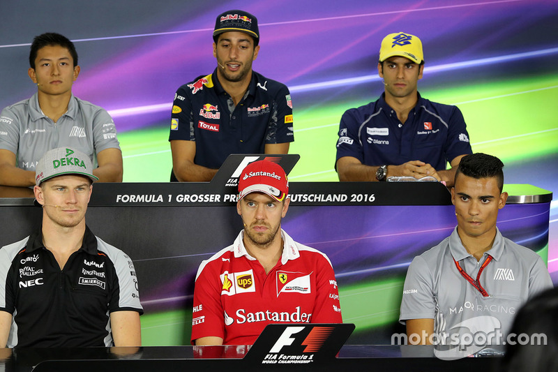 Press conference: Rio Haryanto, Manor Racing, Daniel Ricciardo, Red Bull Racing, Felipe Nasr, Sauber, Nico Hulkenberg, Sahara Force India F1, Sebastian Vettel, Ferrari, Pascal Wehrlein, Manor Racing