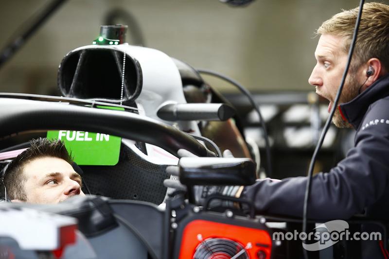 Haas team mechanics at work