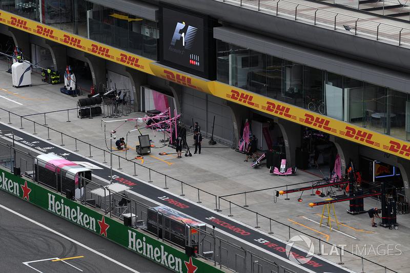 Force India VJM11 garage