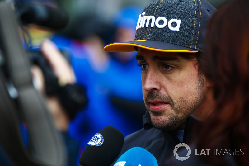 Fernando Alonso, McLaren, gives an interview