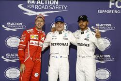 Top3 after qualifying: Pole position for Valtteri Bottas, Mercedes AMG F1, second place Lewis Hamilton, Mercedes AMG F1, third place Sebastian Vettel, Ferrari