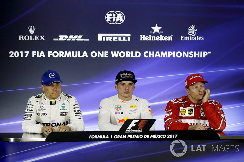 Second place Valtteri Bottas, Mercedes AMG F1, winner Max Verstappen, Red Bull Racing, third place Kimi Raikkonen, Ferrari in the Press Conference
